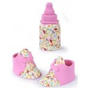 biberon + sapatinhos açucar rosa menina
